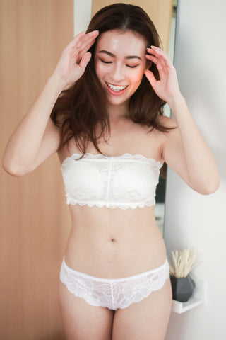Rosette Lace Hooked Bra (White)