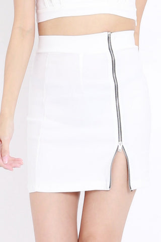 Zipper Bandage Skirt (White)