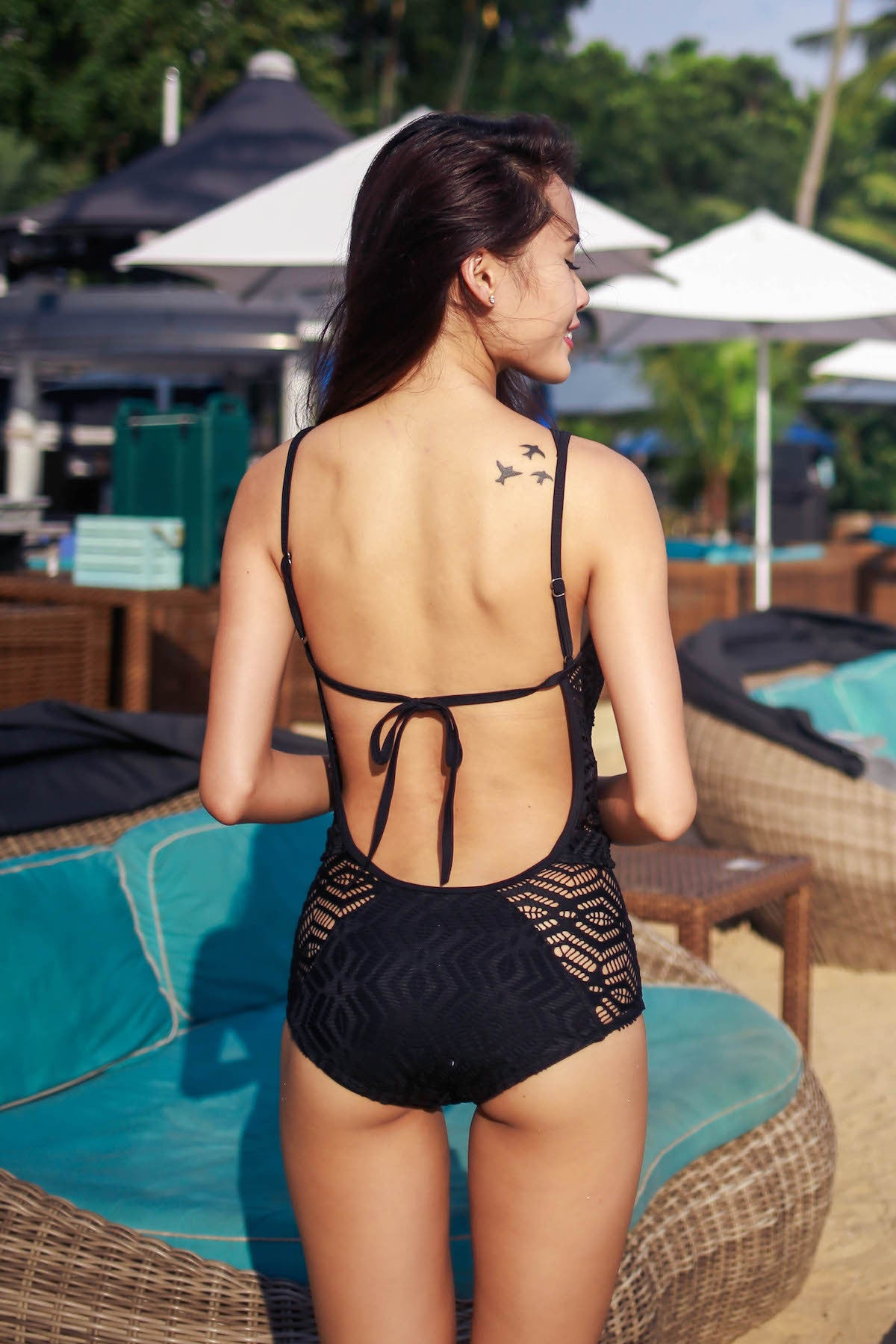 Open Back Crochet Monokini (Black)