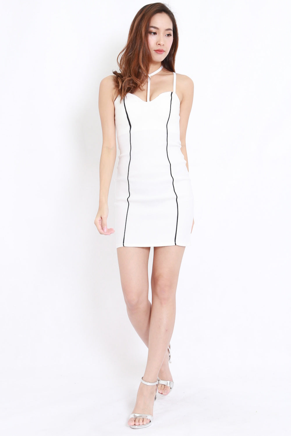 Choker Stripes Dress (White)