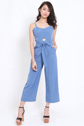 Cutout Ribbon Jumpsuit (Blue)
