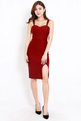 *Premium* Tania Sweetheart Slit Dress (Maroon)