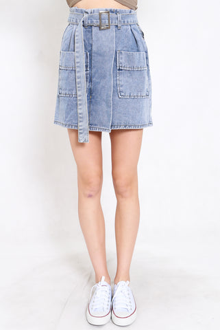 Buckle Denim Skirt (Blue)
