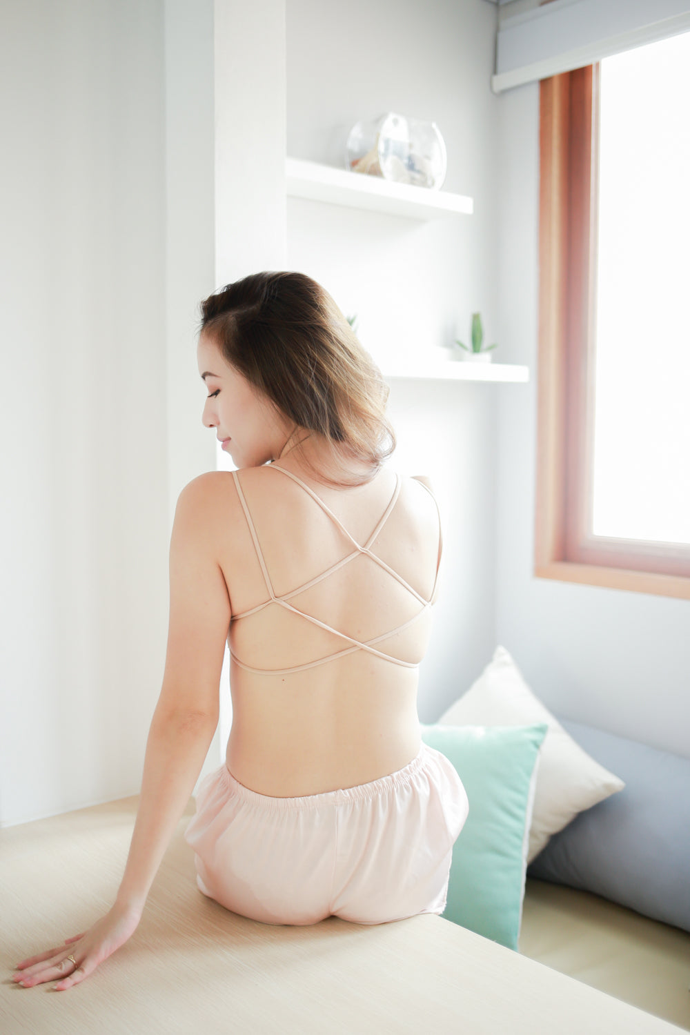 Strappy Back Push Up Bra (Nude)