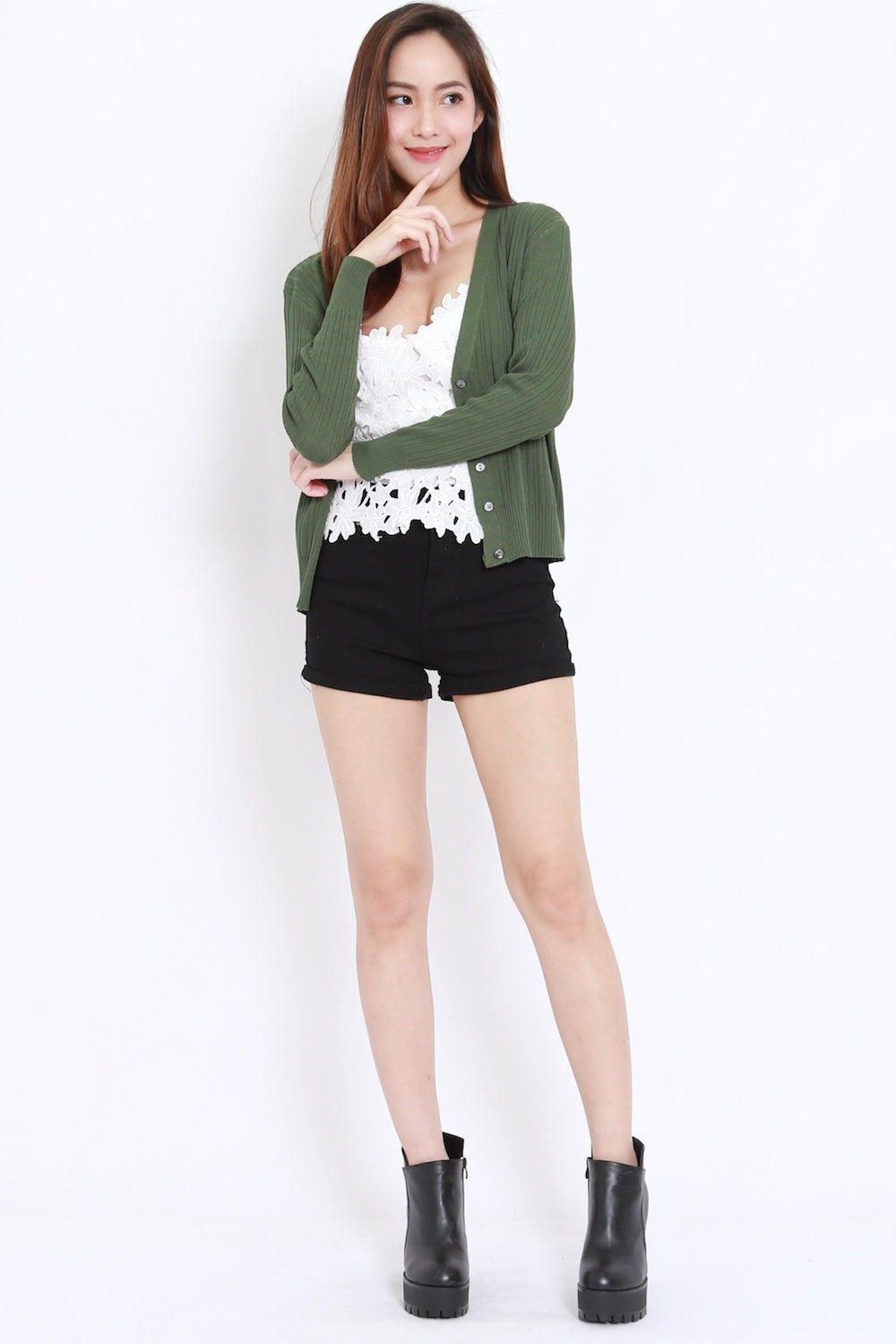 Casual Knit Cardigan (Olive)