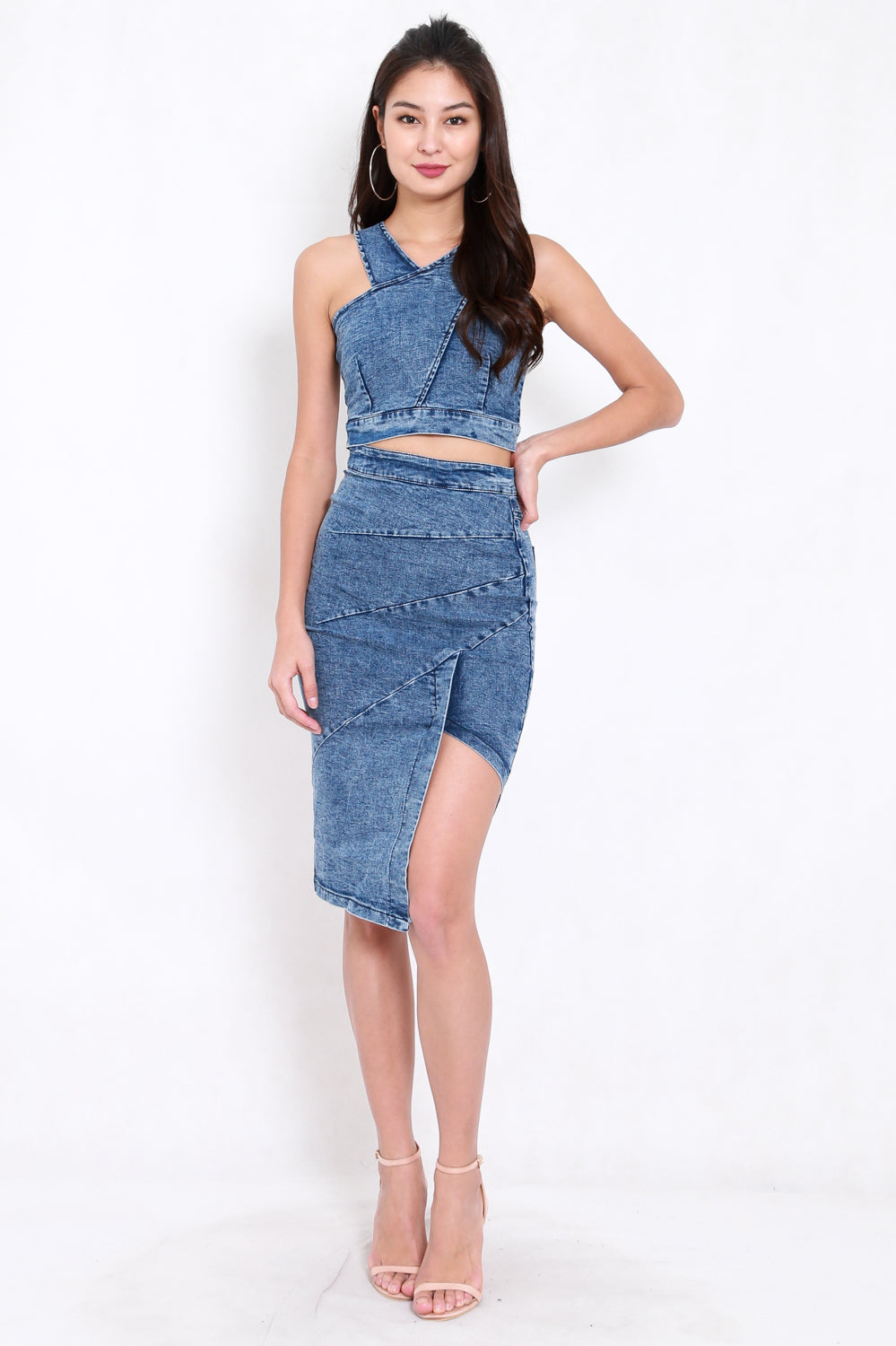 Cross Top Denim 2pcs Set