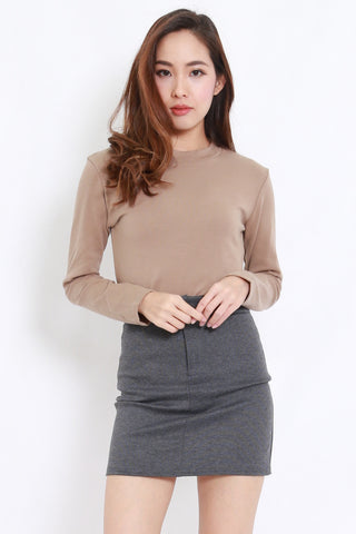High Neck Long Sleeve Tee (Taupe)