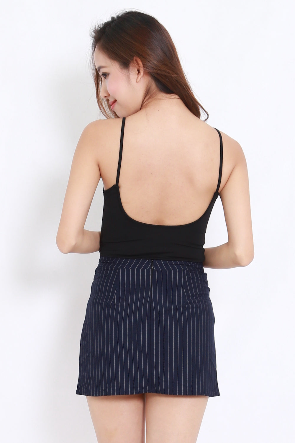 School Girl Stripes Skirt (Navy)