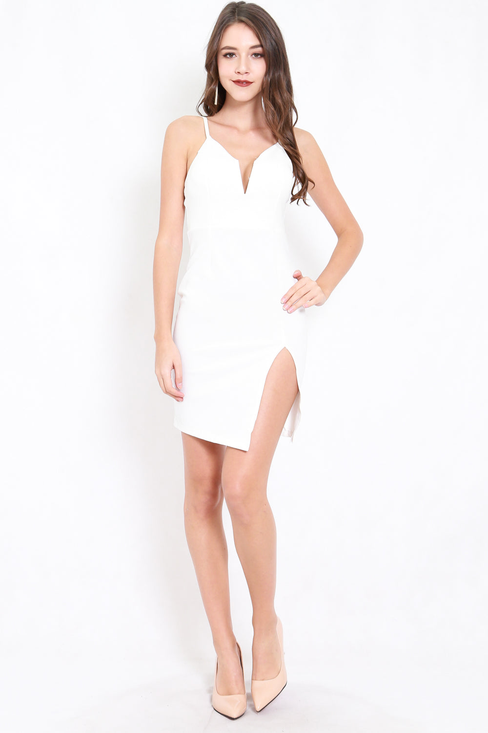 Plunge Neck Slit Dress (White)