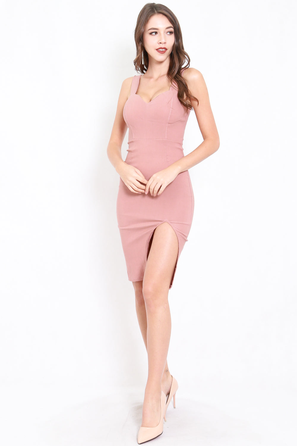Classic Sweetheart Slit Midi Dress (Tan-Nude)
