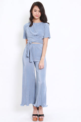 Pleated Wrap Tie Jumpsuit Set (Blue)