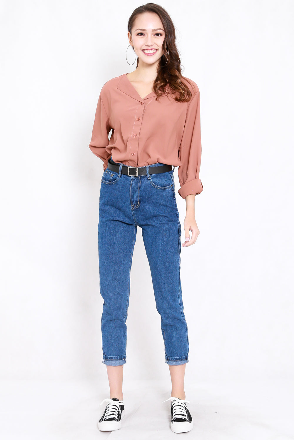 Belted Denim Jeans (Dark Blue)