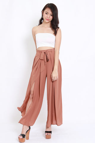 Ribbon Slit Chiffon Pants (Camel)