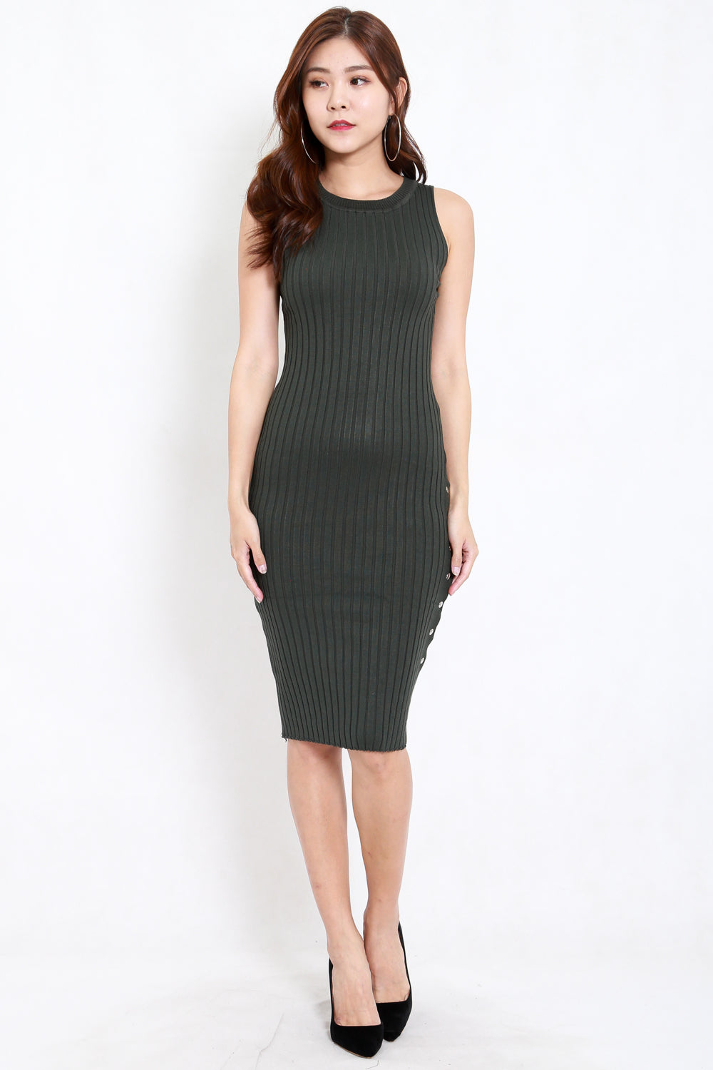 Buttons Slit Knit Midi Dress (Olive)