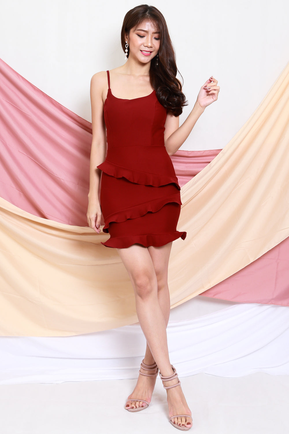 *Premium* Ruffle Tiered Dress (Maroon)