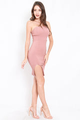 Slit Midi Tube Dress (Tan-Nude)
