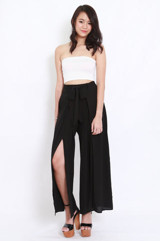 Ribbon Slit Chiffon Pants (Black)