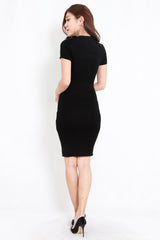 Knit Midi Tee Dress (Black)