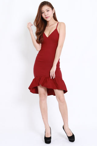 Mermaid Frill Midi Dress (Maroon)