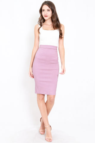 Pencil Midi Skirt (Lavender)