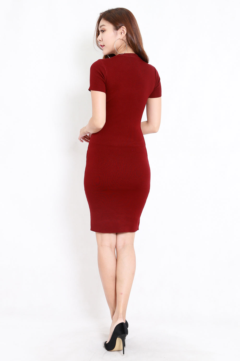 Knit Midi Tee Dress (Maroon)