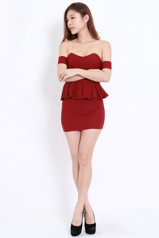 f42d467e43 Sweetheart Peplum Offsie Dress (Maroon)