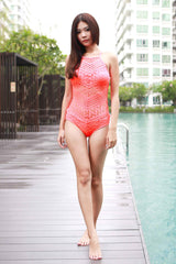 High Neck Crochet Monokini (Orangey Pink) -  - 3