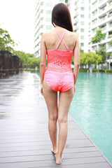 High Neck Crochet Monokini (Orangey Pink) -  - 5
