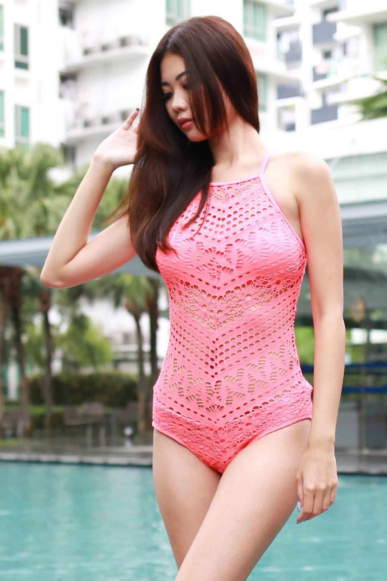 High Neck Crochet Monokini (Orangey Pink) -  - 6