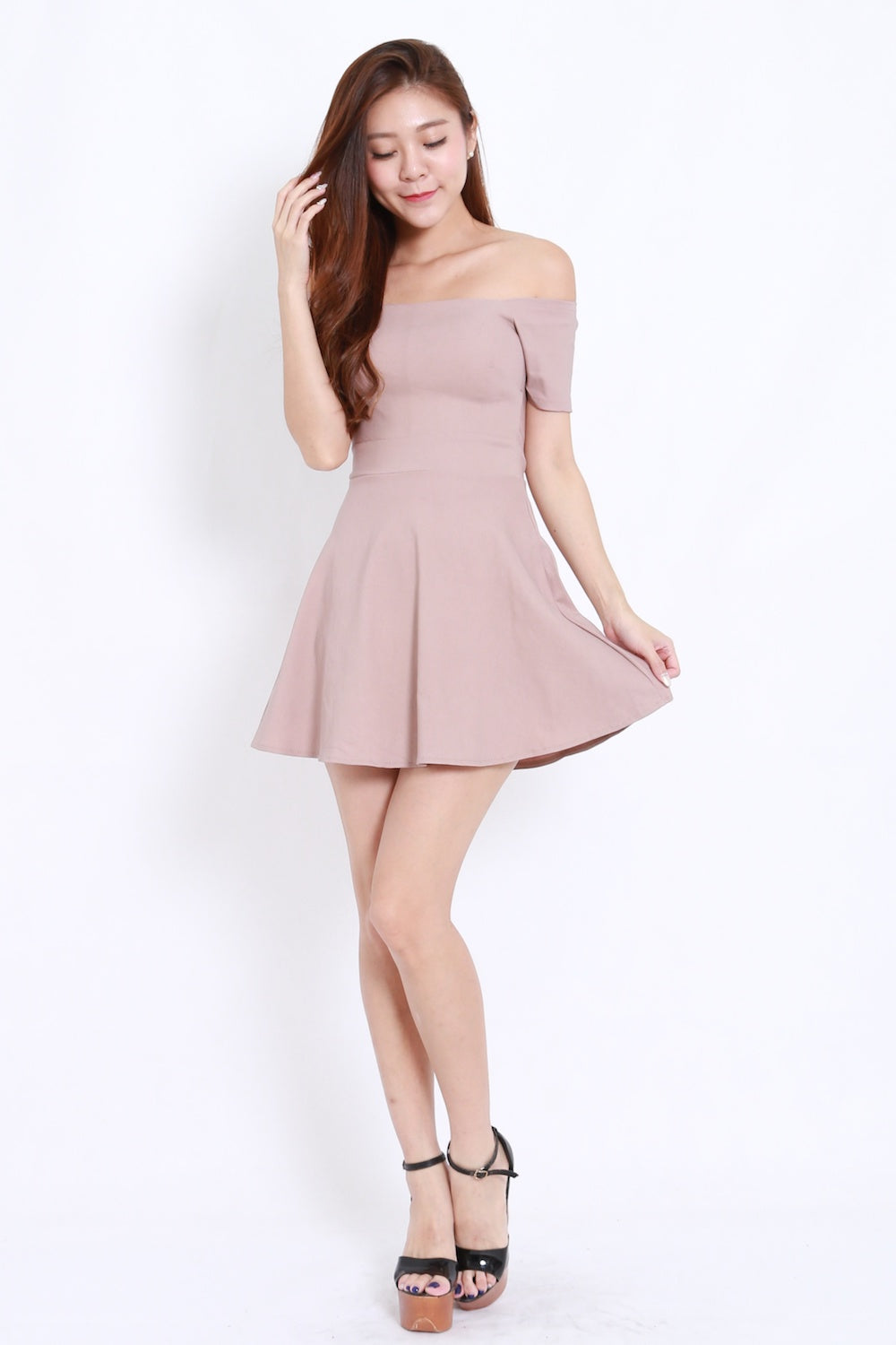 3d8c875a7c2 Off Shoulder Skater Dress (Nude) – Carrislabelle