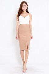 *Premium* Pencil Slit Midi Skirt (Skin-Nude)