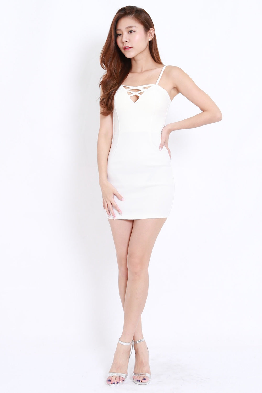 Criss Cross V Spag Dress (White)