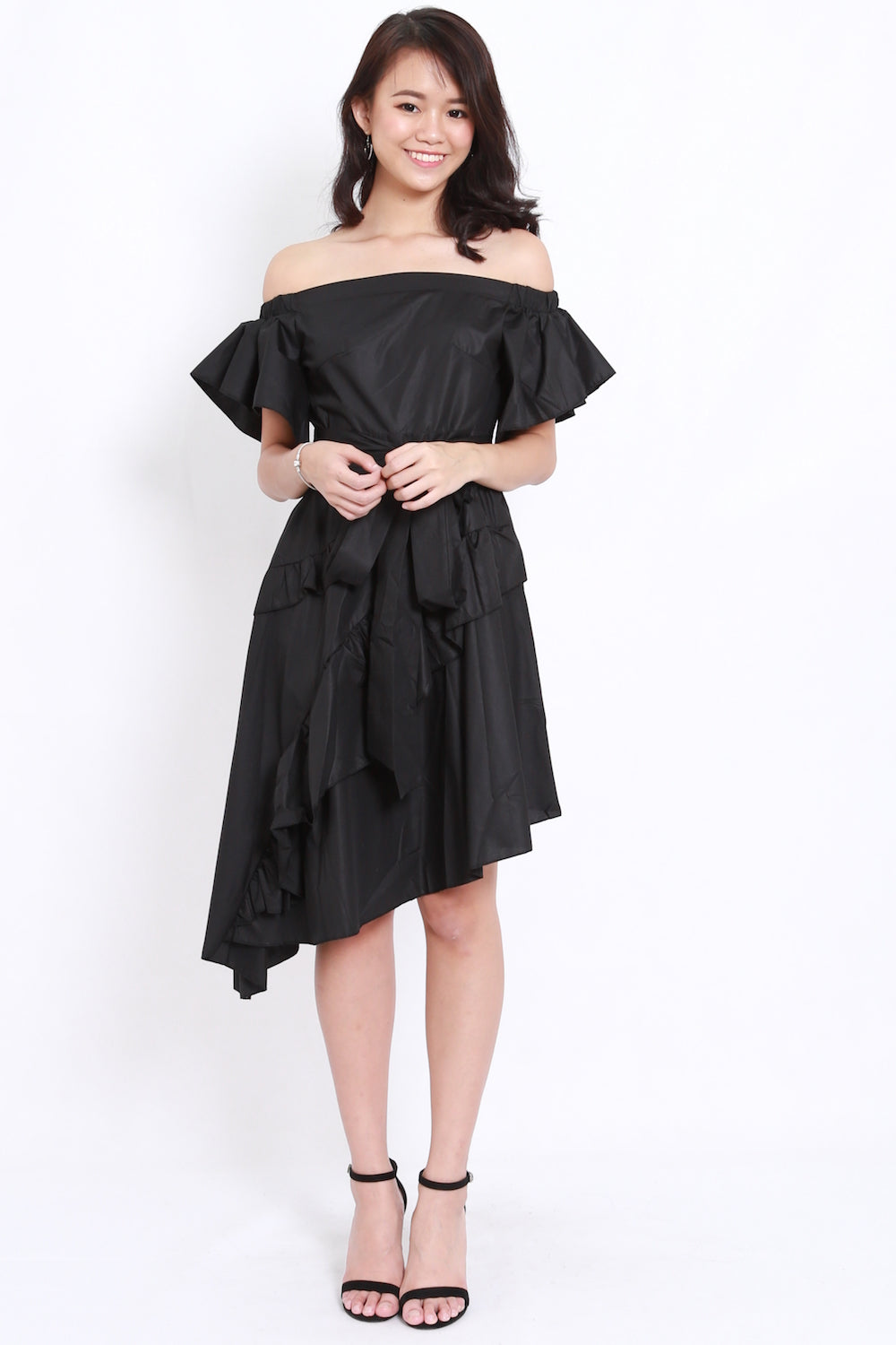 Asymmetrical Ruffle Offsie Dress (Black)