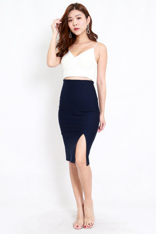 *Premium* Pencil Slit Midi Skirt (Navy)