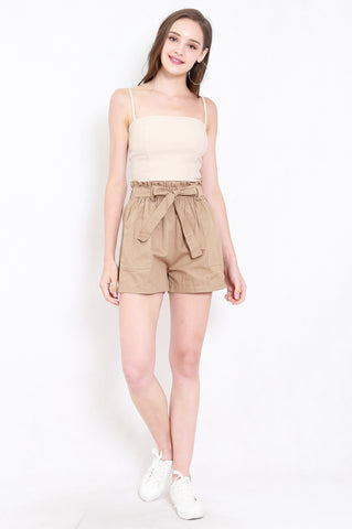 Ribbon Paperbag Shorts (Brown)