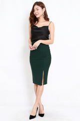 *Premium* Pencil Slit Midi Skirt (Forest-Green)