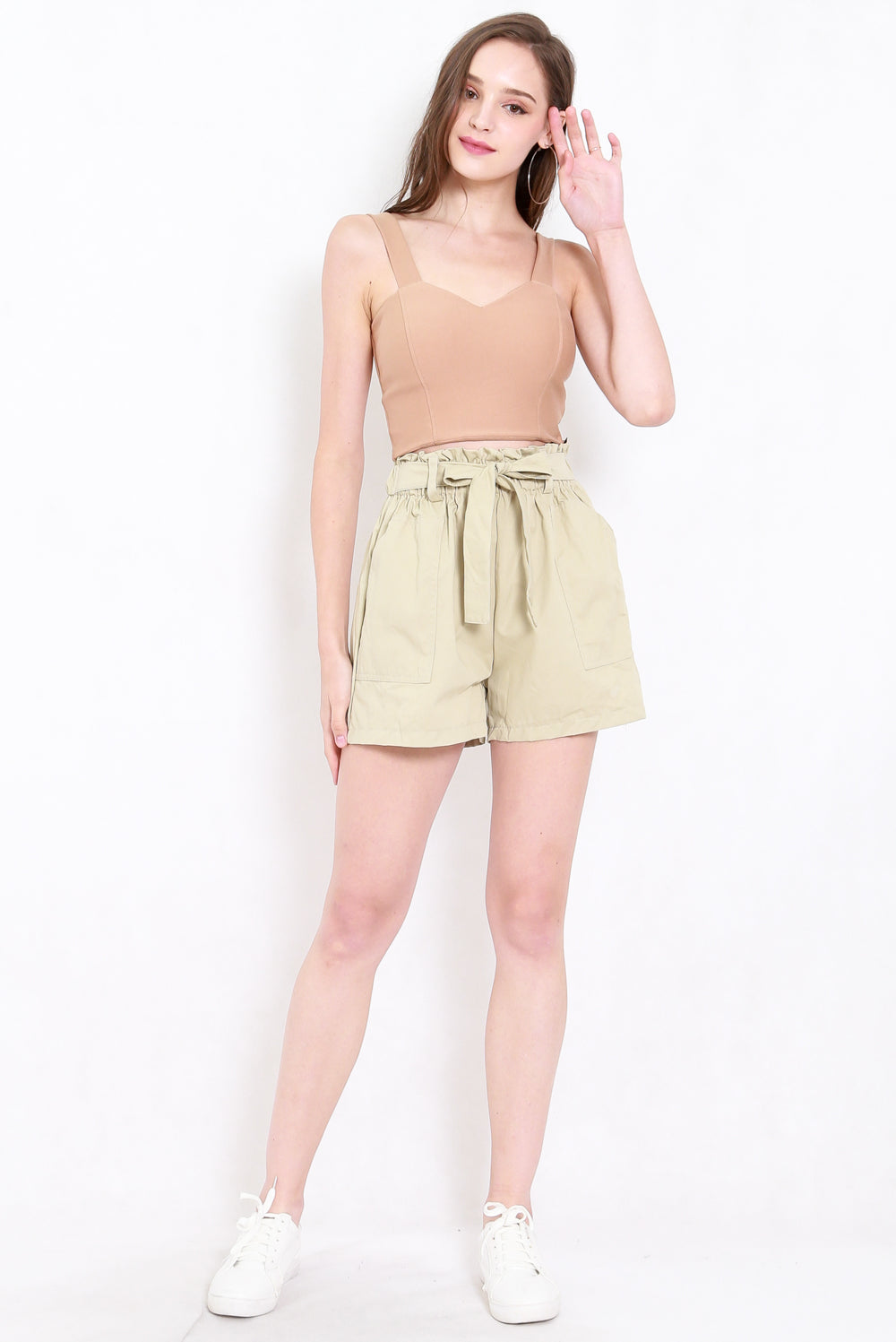 Ribbon Paperbag Shorts (Khaki)