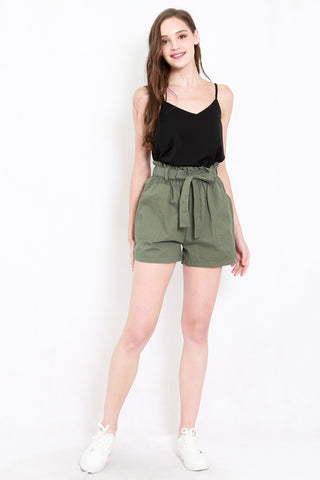 Ribbon Paperbag Shorts (Olive)