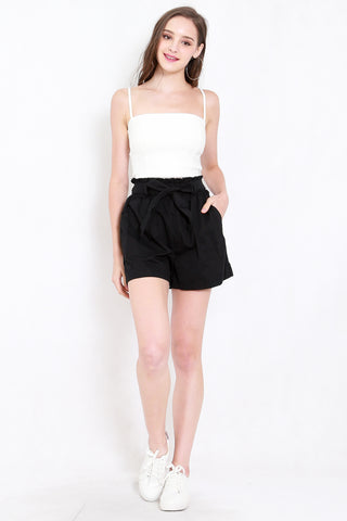 Ribbon Paperbag Shorts (Black)