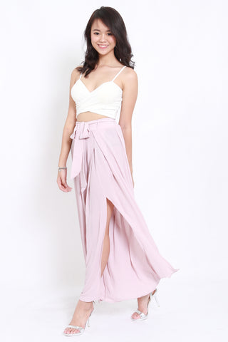 Ribbon Slit Chiffon Pants (Blush)