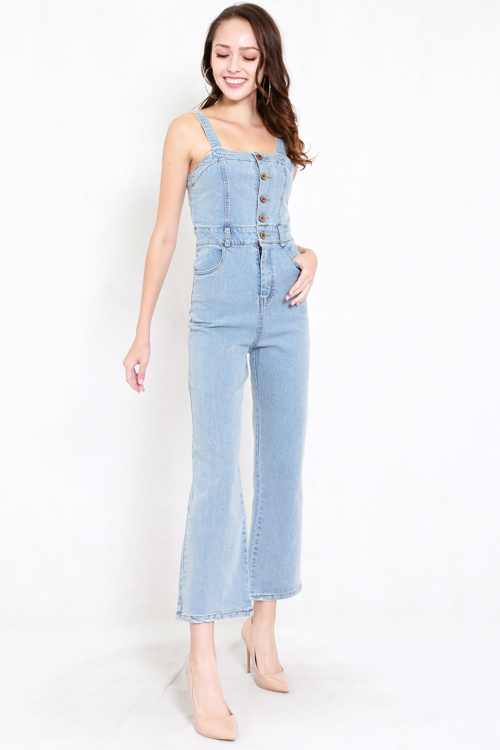 Buttons Bell Pants Denim Jumpsuit