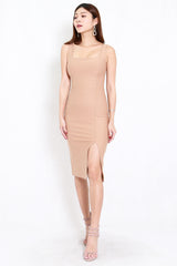 *Premium* Square Neck Slit Midi Dress (Skin-Nude)
