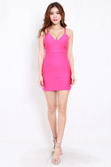 *Premium* Criss Cross V Dress (Barbie Pink)