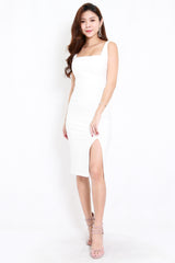 *Premium* Square Neck Slit Midi Dress (White)