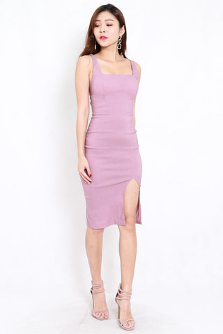 Square Neck Slit Midi Dress (Lavender)