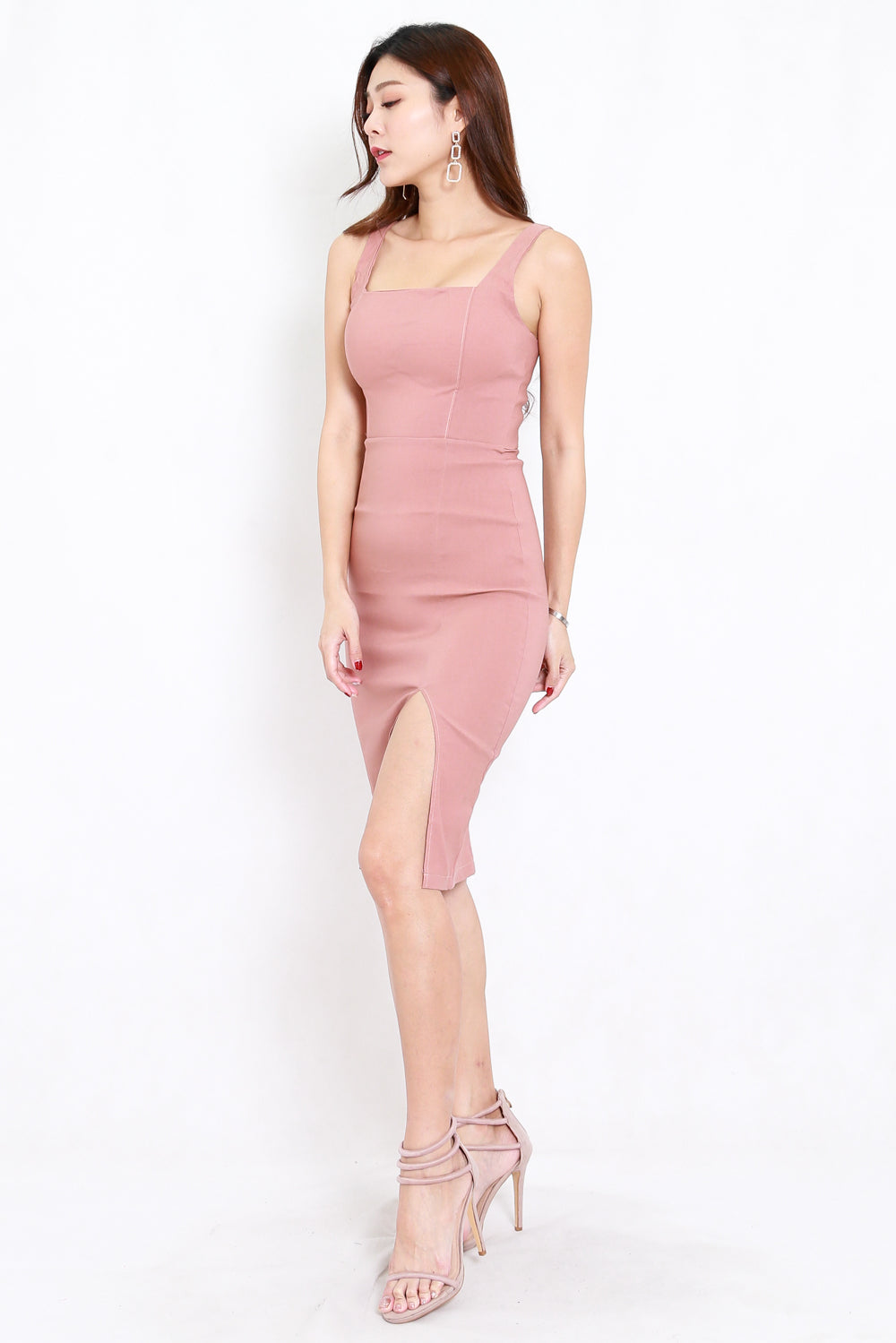 Square Neck Slit Midi Dress (Tan-Nude)