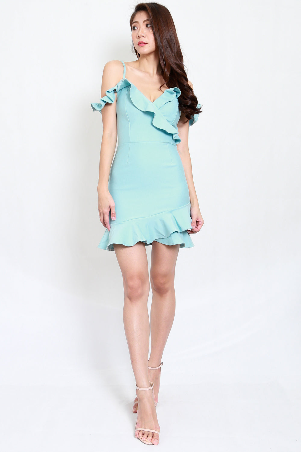 *Premium* Ruffle Off Shoulder Mermaid Dress (Tiffany Blue)