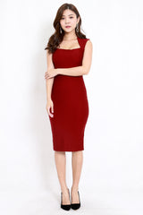 *Premium* Queen Anne Midi Dress (Maroon)