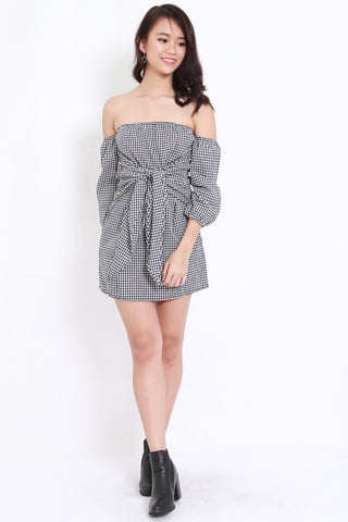 Gingham Tie Front Offsie Dress