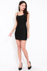 *Premium* Low Back Bodycon Spag Dress (Black)